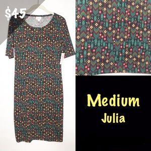 NWT LuLaRoe Medium Julia Dress Arrows Black